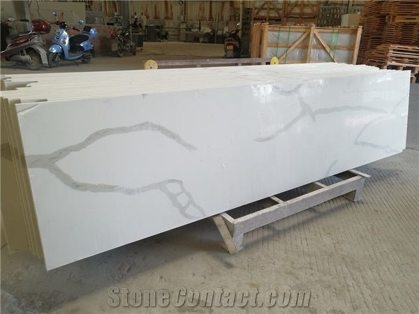 Calcutta White Quartz Bar Top Bench Countertop From China