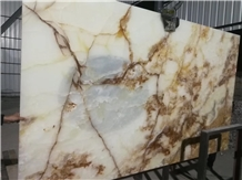 Lightweight Honeycomb-Backed Snow White Onyx Slabs