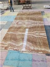 Orange Yellow Wood Onyx Backed Honeycomb Tile Slab