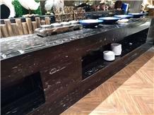 Silver Portoro Marble Prefab Kitchen Countertops