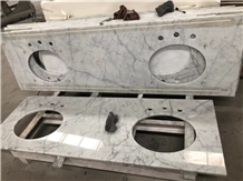 Solid Surface Carrara White Marble Bathroom Top