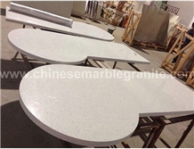 Galaxy Glass Mixed Single White Quartz Table Tops