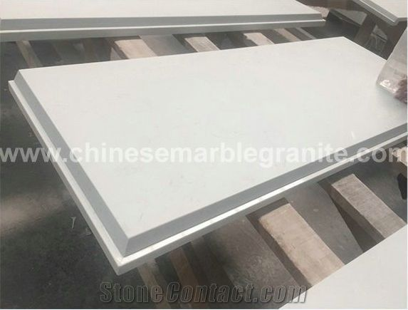 Marble Veins White Quartz Rectangle Table Tops From China