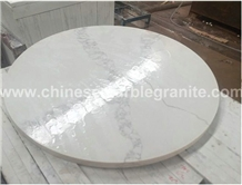Marble Veins White Quartz Round Table Top, Worktop