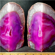 Rose Pink Agate Unique Large Center Geode Bookends
