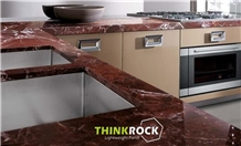 Rosso Levanto Marble Honeycomb-Backed Counter-Tops