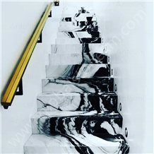 Panda White Marble Commercial Stair