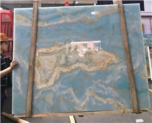 Natural Stone Translucent Ocean Blue Onyx Slabs