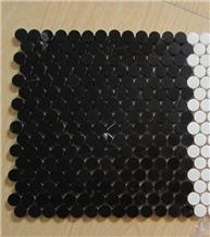Penny Round Black Marble Mosaic Tile Backsplash
