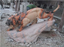 Marble Tiger Statue Landscape Animal Sculpture