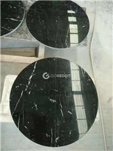 Black Marquina Marble Round Patio Table Top