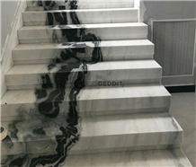 Chinese Panda White Marble Stair Steps