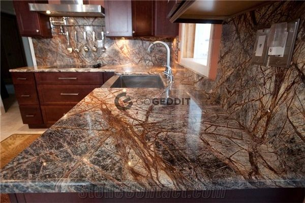 Rainforest Brown Marble Kitchen Countertop From China