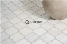 Thassos White Marble Arabesque Floor Mosaic Tile