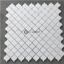Thassos White Marble Arabesque Lantern Mosaic Tile