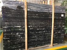 China Silver Dragon Black Portoro Marble Slab Tile