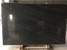 China Silver Wave Black Wooden Marble Stone Slabs