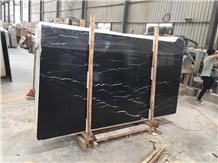 Chinese Black Nero Marquina Marble Slab Negro Tile
