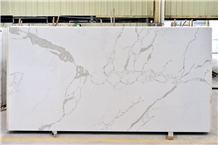 Chinese Calacatta White Quartz Stone Kitchen Slabs
