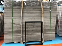 Chinese Grey Wood Grain Marble Tiles Stone Slabs