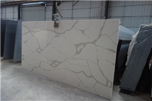 Engineered White Calacatta Quartz Stone Slab Tiles