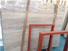 Polished China Eurasian White Wood Marble Slabs