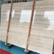Polished Italy Roman Silver Travertine Slabs Tiles