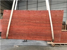 Polished Spain Red Rojo Alhambra Travertine Slabs