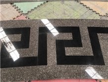 Waterjet Cut G664 & Black Galaxy Granite Flooring