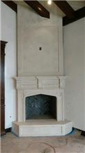 Limestone Carved Cut Stone Fireplace