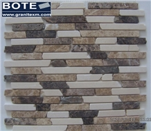 Beige with Light/Dark Emperador Marble Mosaic Tile