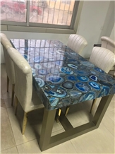 Blue Agate Semiprecious Stone Round Table