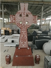 India Red Sandblasted Celtic Cross