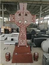 India Red Sandblasted Celtic Cross
