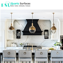 Artificial White Quartz Countertop with Grey Veins