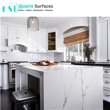 Prefab White Quartz Kitchen Countertops with Veins