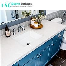 White Mist Artificial Quartz Kitchen Countertop