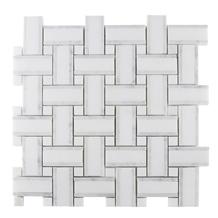 Building Materials Thassos White Basketwave Mosaic