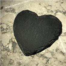 Black Heart-Shaped Broken Edge Marble Coasters