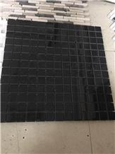 Black Marquina Marble Mosaic Brick Wall Design