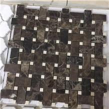 Dark Emperador Marble Basketweave Mosaic