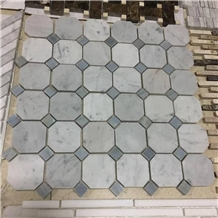 Octagan Mosaic White Marble Mosaic