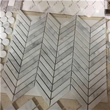 White Carrara Marble Mosaic Fishbone Shape
