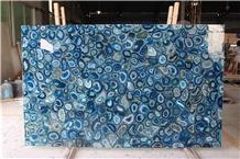 Gemstone Blue Agate Semiprecious Stone Slab