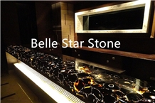 Black Agate Backlit Precious Stone Bar Countertops