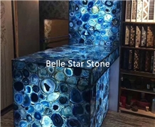 Blue Agate Backlit Precious Stone Reception Table