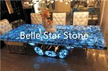Blue Agate Backlit Semi Precious Stone Table