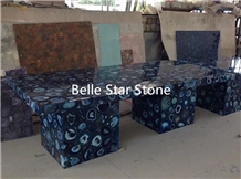 Blue Agate Backlit Semi Precious Stone Work Tables