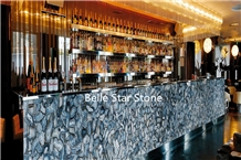 Blue Agate Backlit Semiprecious Stone Bar Counters