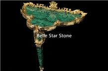 Malachite/Green Jade Precious Stone Corner Table